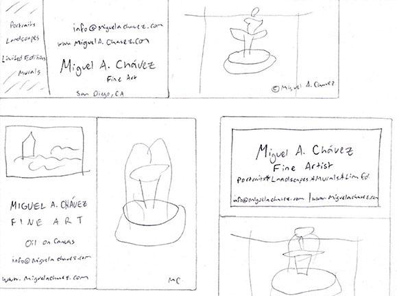 Bilingual Artist Business Cards Process - Linda Albertini Web Design